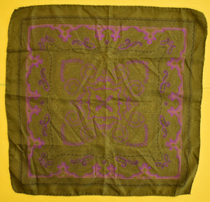 Olive & Purple Paisley Italian Silk Pocket Sq