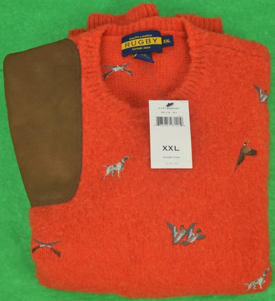 Rugby Ralph Lauren Game Bird/ Gun Dog Emb Shetland Sweater w/ Suede Shoulder Patch Sz: XXL (SOLD)