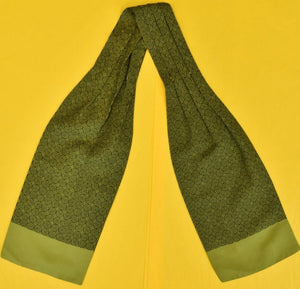 Hermes of Paris Olive Foulard Silk Cravat