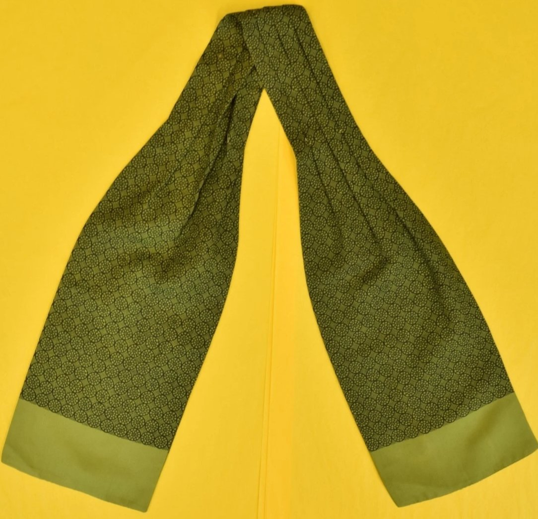 Hermes of Paris Olive Foulard Silk Ascot