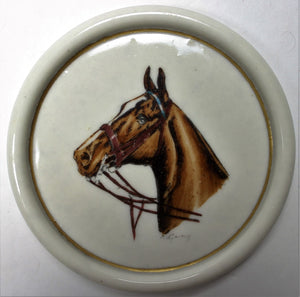 Set of 7 Abercrombie & Fitch Porcelain Horse Head Coasters