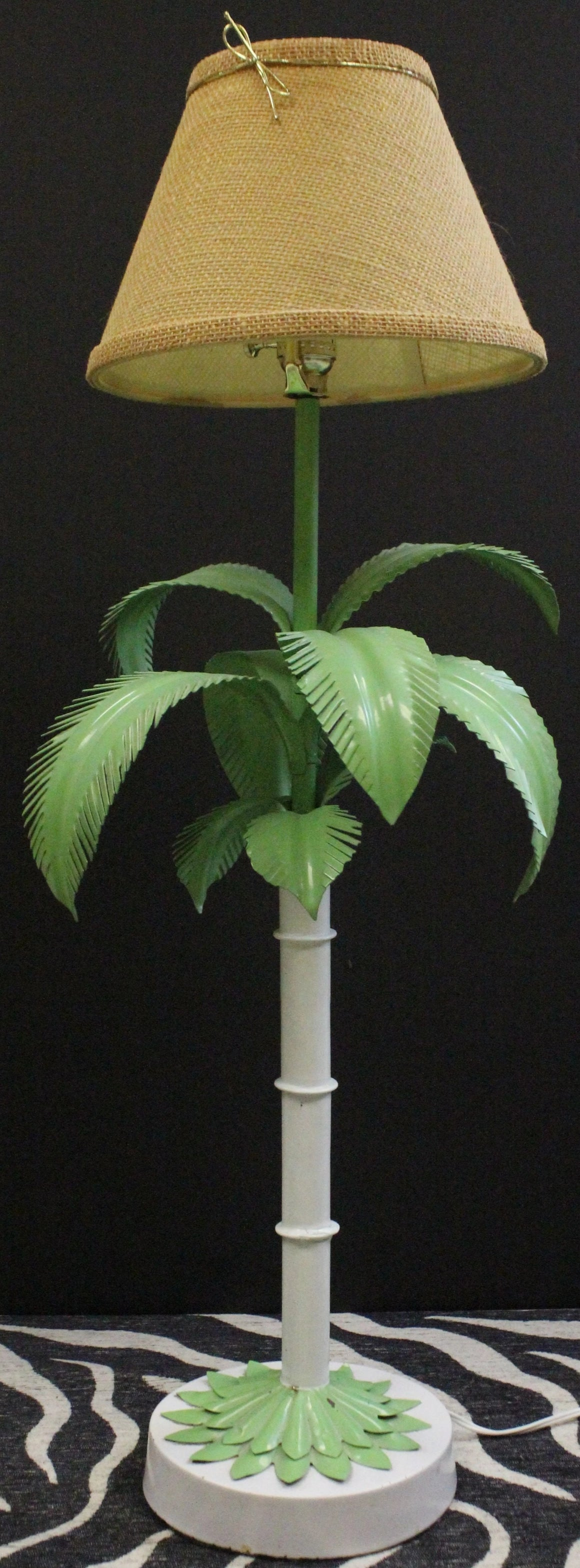 Palm 'Beach' Frond Leaf Bamboo Metal Stem Table c1950s Lamp