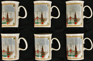 Boxed Set of 6 Gucci Christmas c1980s Mugs