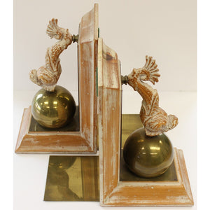 Pair of Oliver Messel Barbados Driftwood Dolphin w/ Brass Ball Bookends
