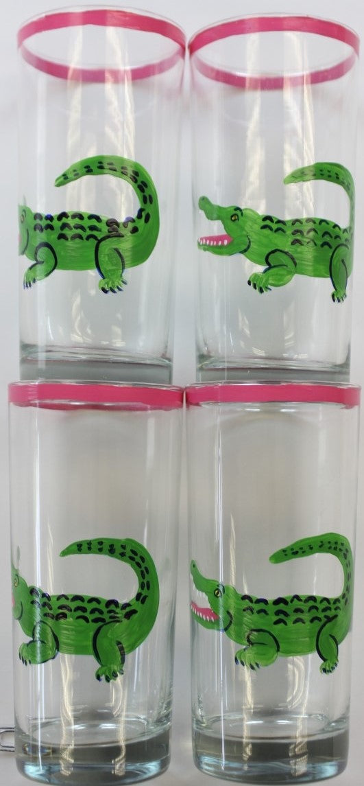 Set of 4 Hand-Painted Alligator Highball Glasses