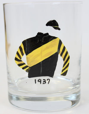 Set of 10 Hand-Painted Jockey Old-Fashioned Glasses