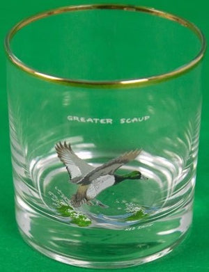 Ned Smith for Orvis Optic Glass Pitcher w/ Set of (4) 'Black' Duck Old-Fashioned Glasses