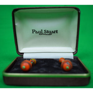 Paul Stuart Orange/ Green 'Ball' Quartz Cufflinks (New in Box!)