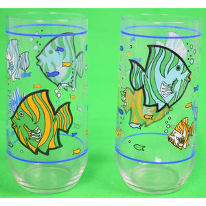 Pair of Tropical Fish Highball Glasses