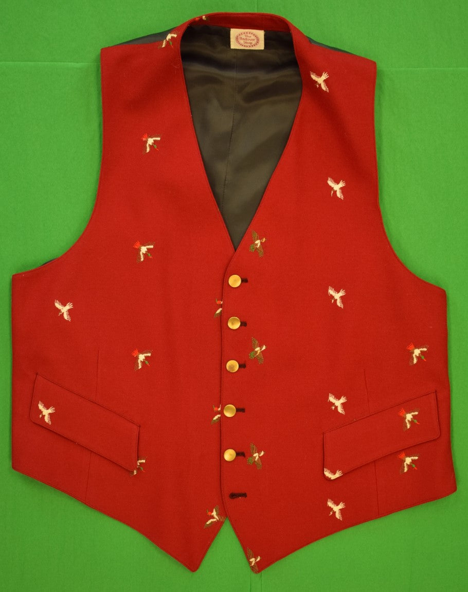 The Andover Shop Red Challis Vest w Embroidered Gamebirds Sz 42R