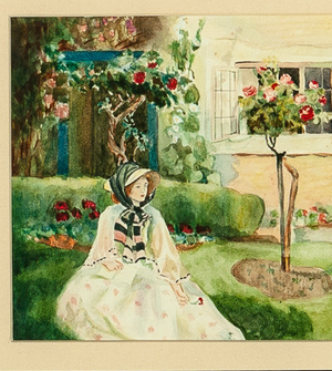Lady in a Garden 1909 Watercolour