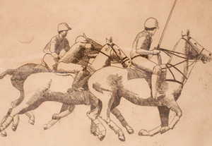 Three on The Ball c.1930's Polo Drypoint #52/250