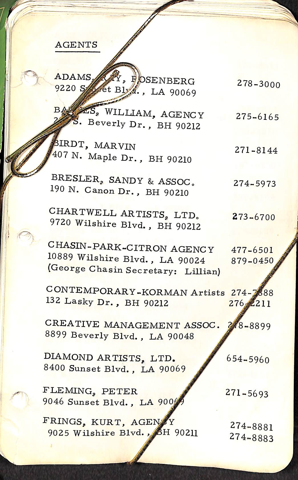 Hollywood Agent's c1960s Phone Directory/ Who's-Who Hollywood Address Book
