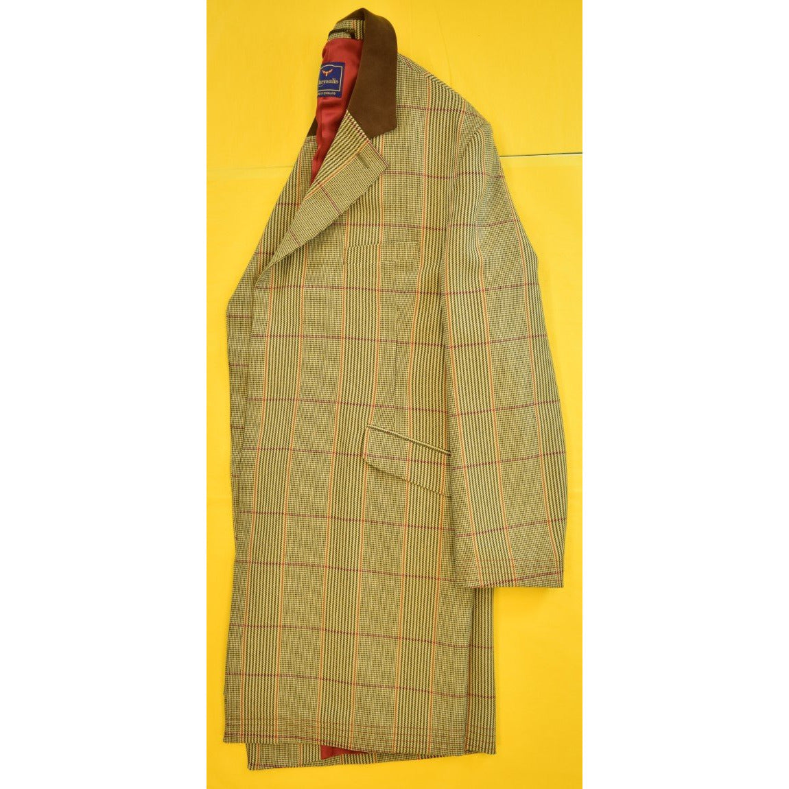 'Chrysalis Russell Plaid Paddock Coat for The Andover Shop w Hacking/ Ticket Pockets & Chocolate Suede  Collar Sz: 46""
