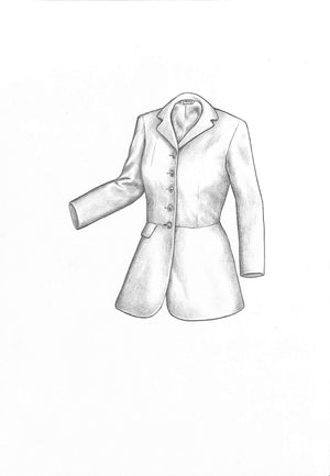 'Ladies Frock Coat' Graphite Pencil Sketch