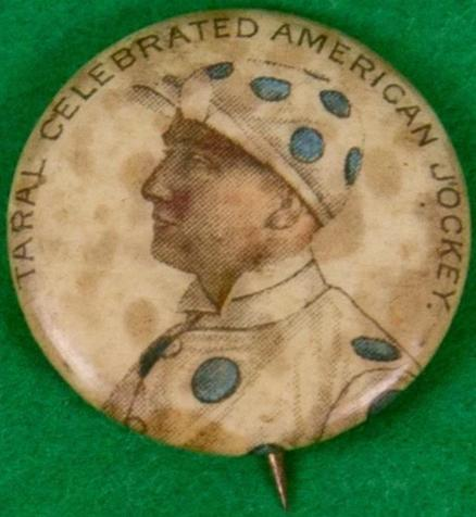 Whitehead & Hoag Taral Little Jockey Button Pin c1890s