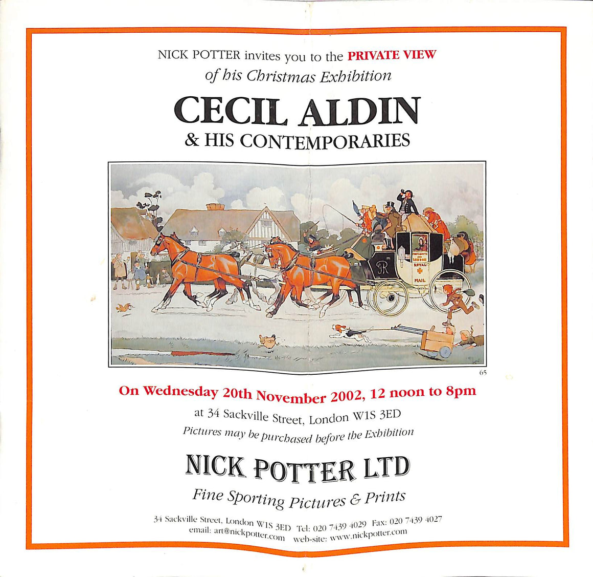Nick Potter Christmas Exhibition: Cecil Aldin & His Contemporaries - 20th November 2002 (Sold!)