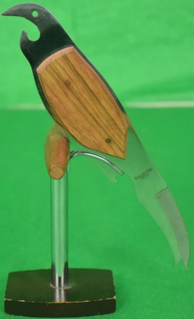 Parrot Garnish Knife & Corkscrew w 'Bottle Opener' Beak