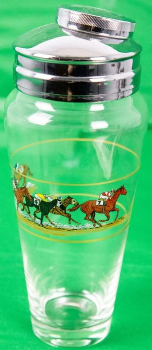 Hand-Painted (6) Racehorses Glass Cocktail c1930s Shaker w/ Chrome Lid