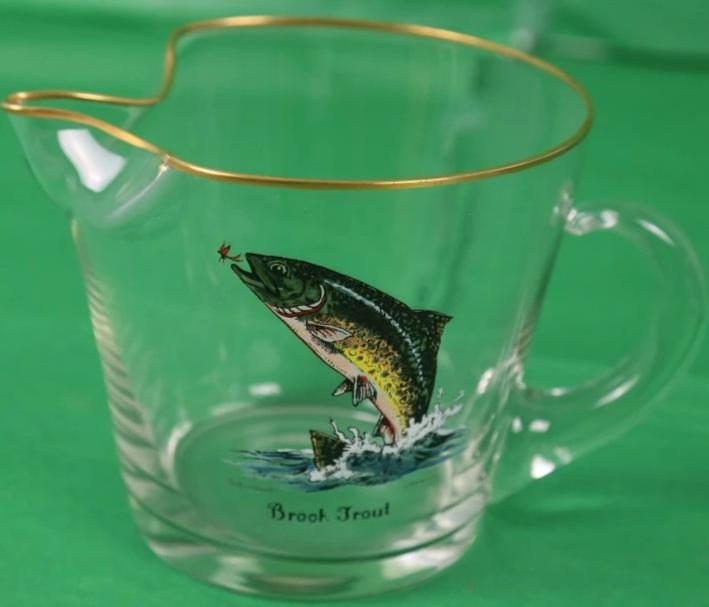 Hand-Painted Leaping Brook Trout Pitcher Signed Schaldach for Carwin