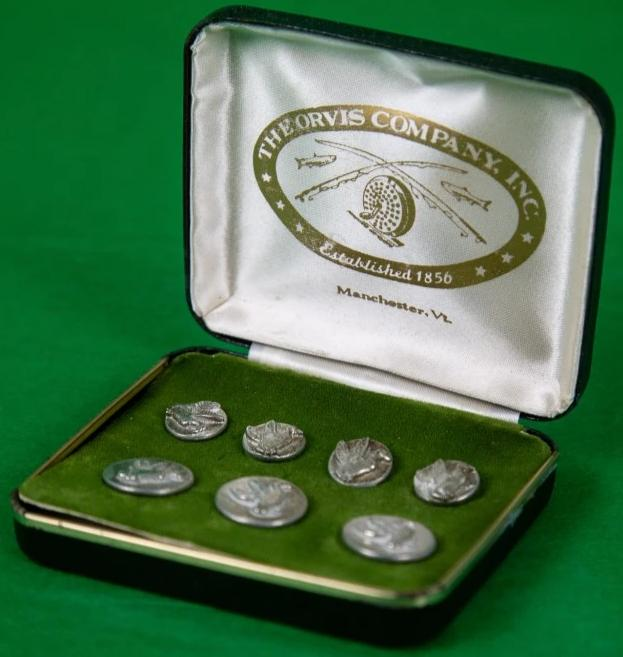 Orvis Pewter Mallard Boxed Set of (7) Blazer Buttons/ (3) Frontal & (4) Sleeve