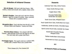 Swifty's Restaurant: 2003 Dessert Menu