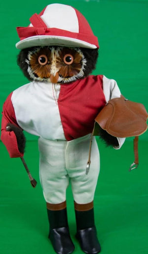 London Owl for Abercrombie & Fitch Red/ White Silks Jockey w/ Saddle & Crop