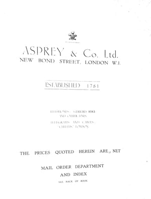 Asprey Bond Street Trade Catalogue
