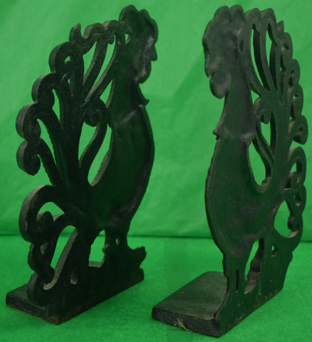 Pair of Lead Rooster Cock Bookends