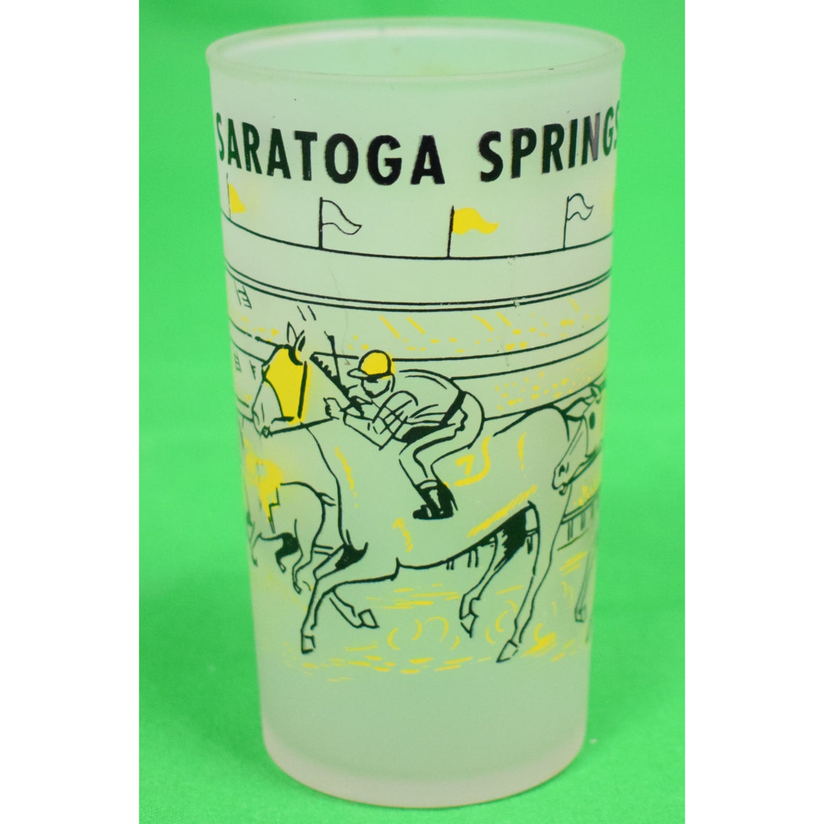 Saratoga Springs Horse Racing Frosted Cocktail Glass