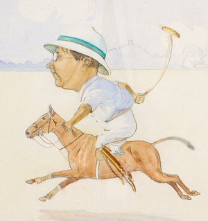 """Spraggon"" Polo Player c.1913 Watercolour by Wil Mots"