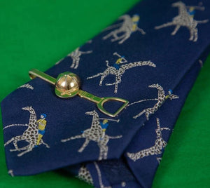 Turnbull & Asser Polo Player on Giraffe Silk Tie w/ Jockey Cap/ Stirrup Hickok Tie Clasp