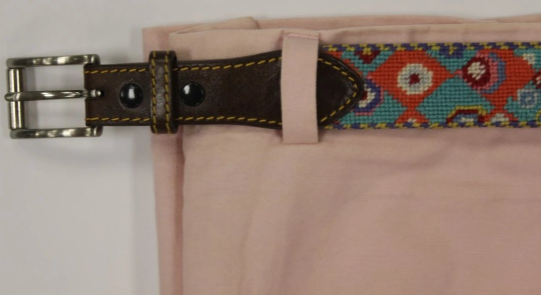 "Turq & Coral J. McLaughlin Needlepoint Belt Sz: 40""W"