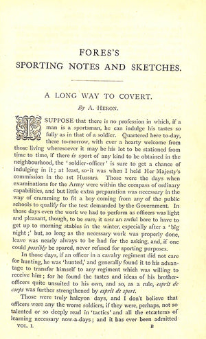 """Fores's Sporting Notes & Sketches Vol. I 1884-1885"""