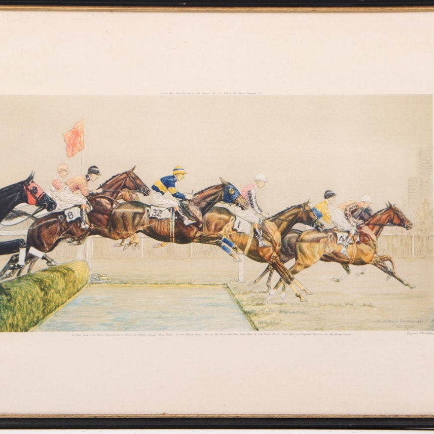 "Paul Brown 1931 Hand-Colour Lithograph ""The Water - Aintree"" from The Grand National"