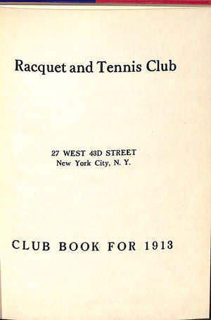 """Racquet & Tennis Club"" 1913 (Sold!)"