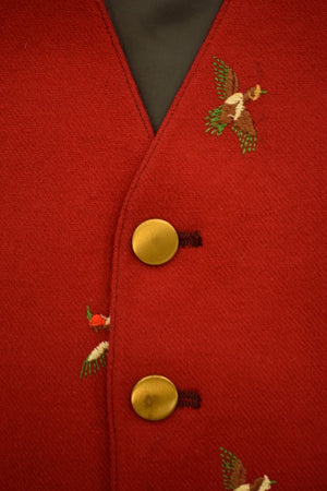 """The Andover Shop Red Challis Vest w Embroidered Gamebirds"" Sz 42R"