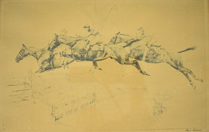 Three Steeplechasers c.1930's Drypoint by Paul Brown