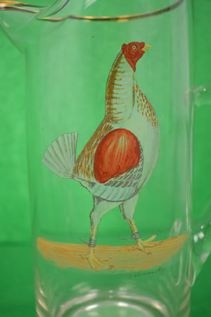 Abercrombie & Fitch Glass Cocktail Pitcher w/ Hand-Painted English Gamecock by Frank Vosmansky