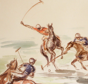 Meadowbrook Polo Hand-Color Litho by John Groth
