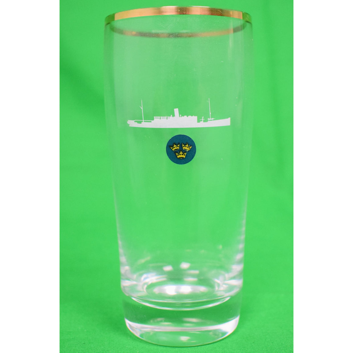 Cocktail Glass w/ 3 Crowns & Cruise Ship