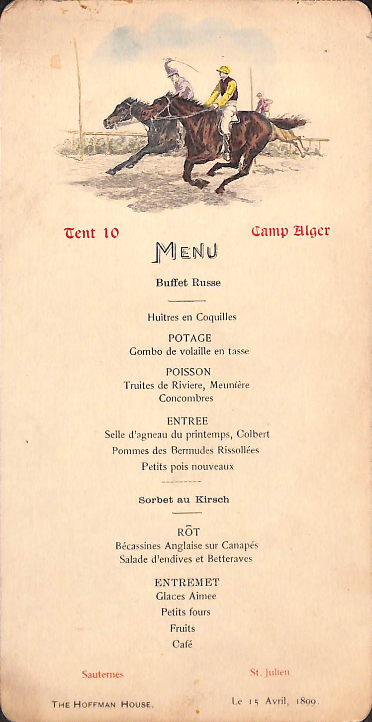 French Menu Card
