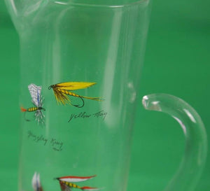 (4) Hand-Painted Trout Flies Glass Pitcher & Stirrer