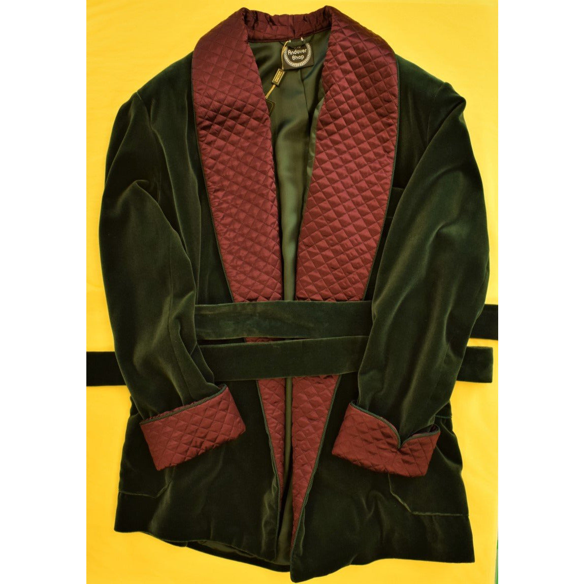 The Andover Shop Italian Bottle Green Velvet Smoking Jacket w/ Burgundy Trapunto Shawl Collar Sz: XL""