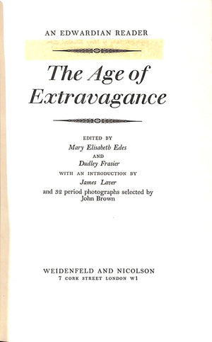 The Age of Extravagance: An Edwardian Reader w/ Cecil Beaton Cover Artwork
