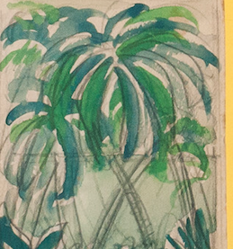 """Grove of Palms"" 1950 Watercolour for T&C Mag"