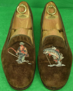 """Stubbs & Wootton Chocolate Suede Fly-Fisherman w/ Leaping Trout Emb ToeBox Sz: 12"""