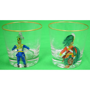 Set of 2 Hand-Painted Royal Military Old-Fashioned Glasses