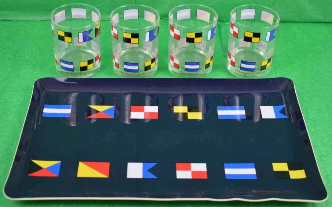 'Abercrombie & Fitch Signal Flag Bar Tray & Boxed Set of 12' 14oz Double Old-Fashioned Glasses