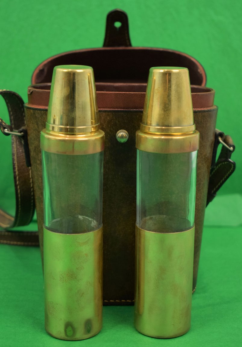"""Gucci Twin Glass/ Brass Lid c1970s Flasks In Leather Case w/ Strap"""